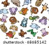 Seamless pattern of cute  baby animals - stock