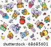 Seamless pattern of cute  baby animals - stock photo
