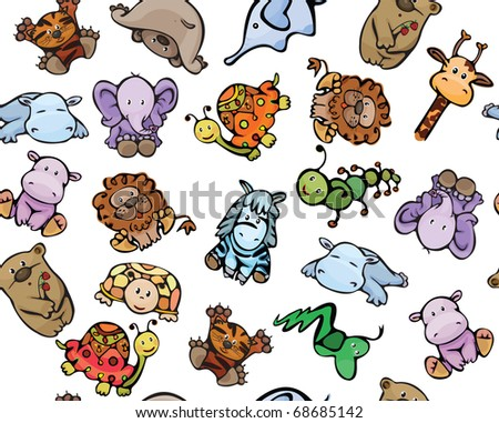 Seamless pattern of cute  baby animals - stock vector