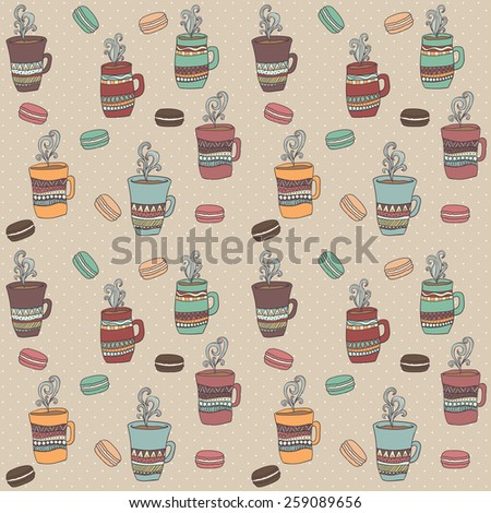 Seamless pattern of cute mug in doodle style with macaroons - stock vector