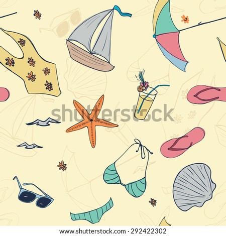 Seamless pattern of  cute Sandals, bikini, sunglasses, shell, starfish, seagull, cocktail for brochure, paper, wallpaper, fabric, wrap, banner, background Vector illustration eps 10 - stock vector