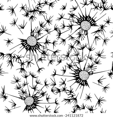Seamless pattern of dandelion . Hand-drawn floral background. Black and white vector illustration. - stock vector