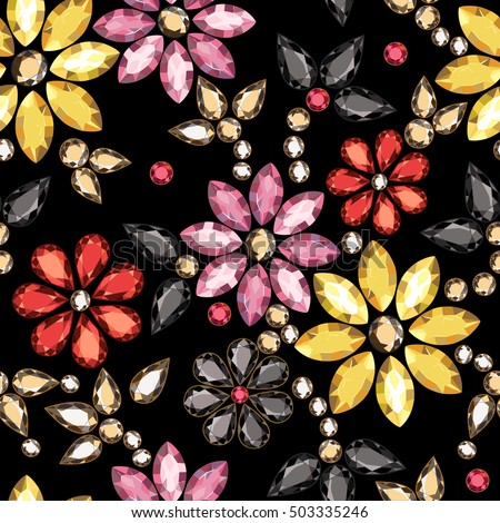 Seamless pattern of decorative strass on a black background.