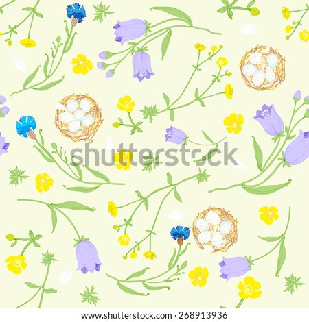 seamless pattern of delicate flowers and nests.vector illustration     - stock vector