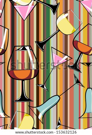 Seamless Pattern of different alcoholic cocktails - stock vector