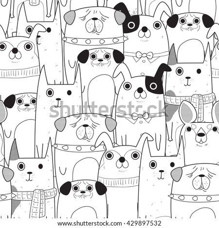 Seamless pattern of dogs in black and white use as background, wallpaper, card and wrap paper