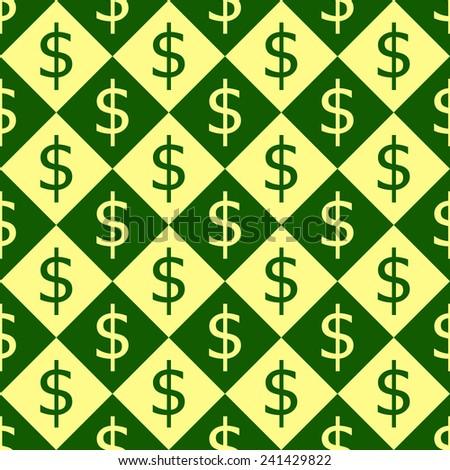 Seamless pattern of dollar symbols. - stock vector