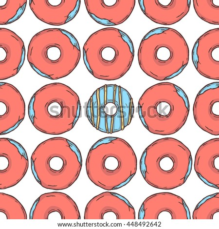 Seamless pattern of donuts in glaze on white background. Sketch style.
