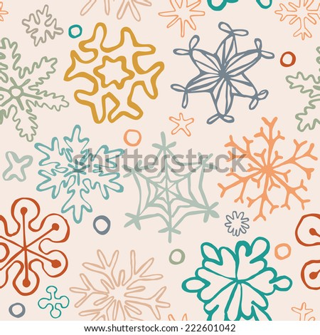 seamless pattern of drawn by hand snowflakes, for merry christmas and happy new year postcard and background, vector eps 8 - stock vector