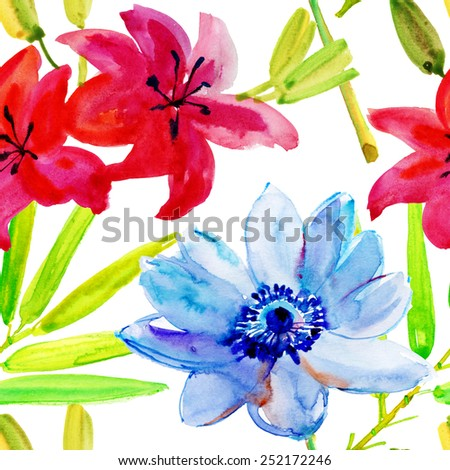 Seamless pattern of exotic flowers and leaves. vector. - stock vector