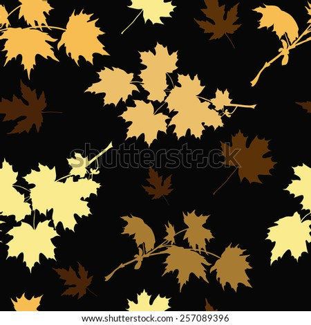 Seamless pattern of falling maple leaves. Vector illustration - stock vector