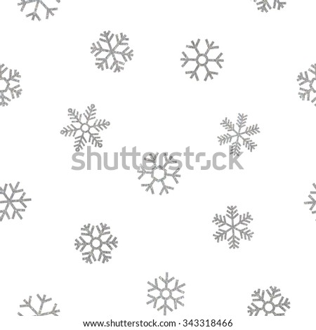 Seamless pattern of falling silver snowflakes on white background. Elegant pattern for Christmas or New year background, festive banner, card, invitation, postcard. Vector illustration. - stock vector