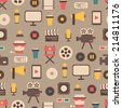 Seamless pattern of flat colorful movie design elements and cinema icons in flat style. Vector illustration. Background. - stock vector