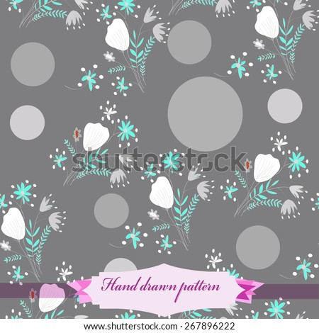 Seamless pattern of floral motif, ellipses, bouquets,circles, label. Hand drawn. - stock vector