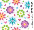 seamless pattern of flower stickers, vector background - stock vector