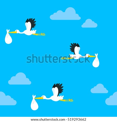 Seamless pattern of flying storks carrying a baby in a white bundle against a blue cloudy sky, vector illustration