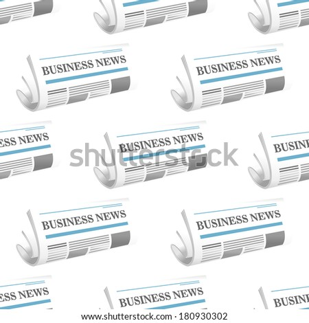 Seamless pattern of folded Business News newspaper arranged as a repeat motif in rows on a square format - stock vector