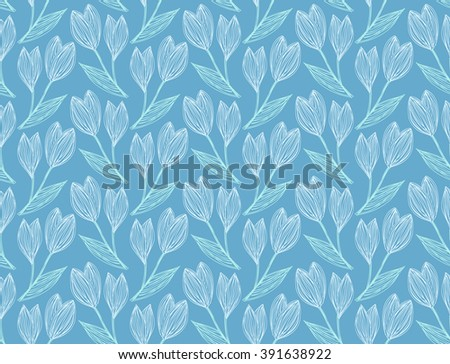 Seamless pattern of freehand drawing and hatched snowdrops on a dark blue. Vector Eps10.  - stock vector
