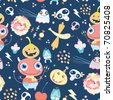 Seamless pattern of gay ghosts and monsters - stock vector