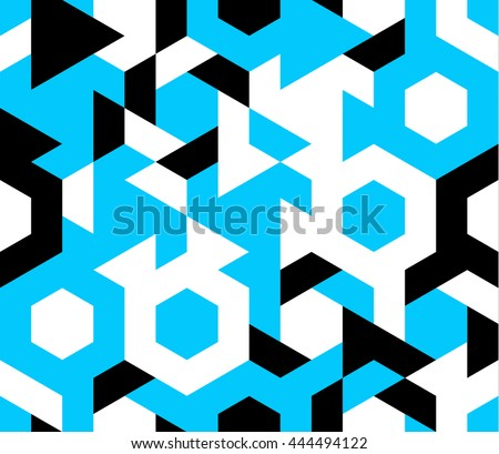 Seamless pattern of geometric shapes. Geometric abstract background with hexagon.