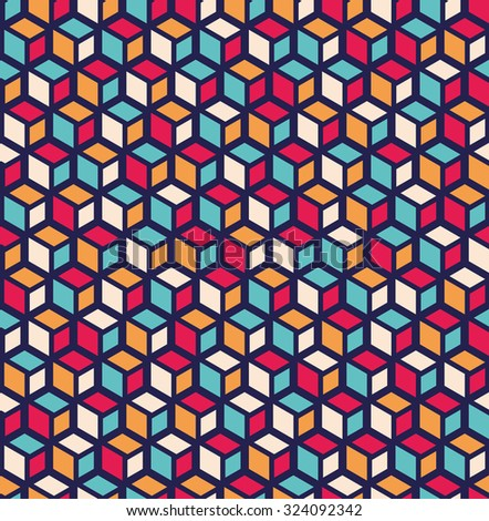 Seamless pattern of geometric shapes.Geometric abstract background with rhombuses and cubes.