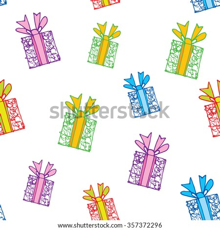 Seamless pattern of gift boxes, Isolated on white background