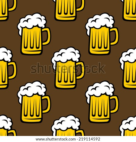 Seamless pattern of glass tankards of frothy beer, yellow and white color isolated on brown background - stock vector