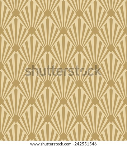 seamless pattern of gold monochrome art deco sun rays - stock vector