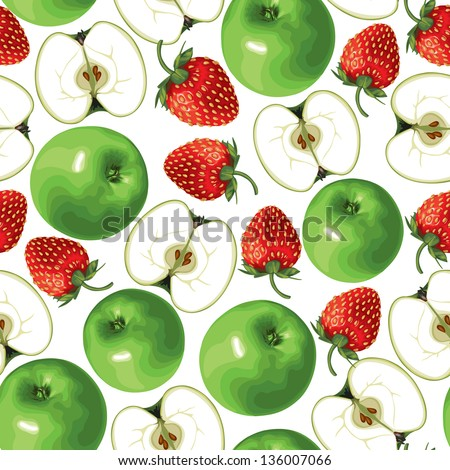 Seamless pattern of green apple and strawberries - stock vector