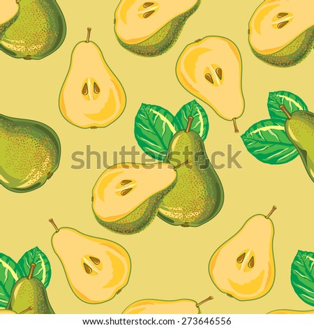 seamless pattern of green pear and pear slices - stock vector