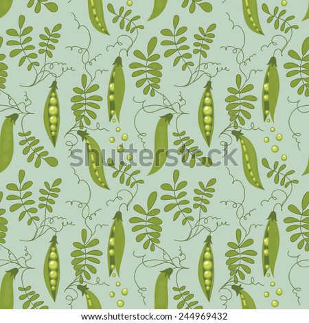 Seamless pattern of green peas and leaves. - stock vector
