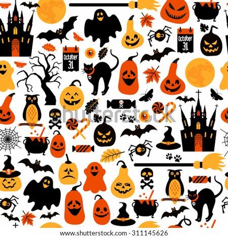 Seamless pattern of halloween - stock vector