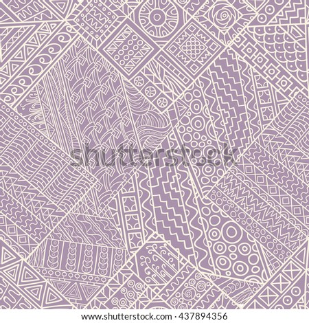Seamless pattern of hand-drawn and colored abstract elements.  Vector graphics. Monochrome gamma . - stock vector