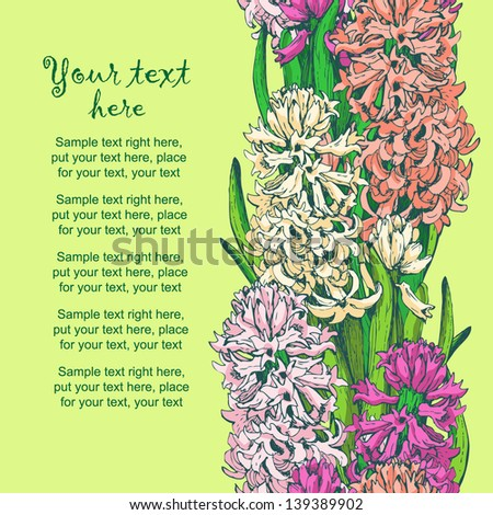 Seamless pattern of hand drawn hyacinths. Decorative vertical floral border. Invitation card for romantic event, wedding, etc. Bright floral background for your design.  - stock vector