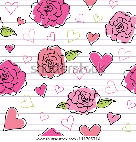 seamless pattern of hand drawn roses and hearts - stock vector
