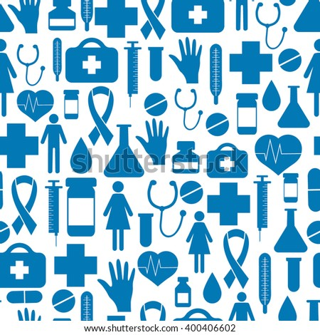 Seamless pattern of health, medicine, treatment, care. World Health Day.