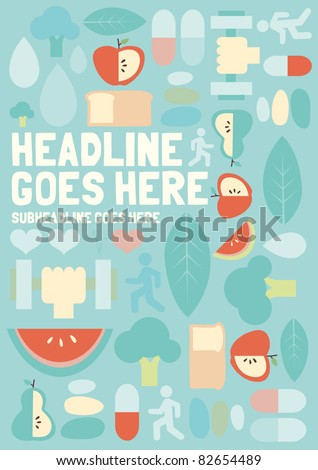Seamless pattern of healthy icons and elements - stock vector