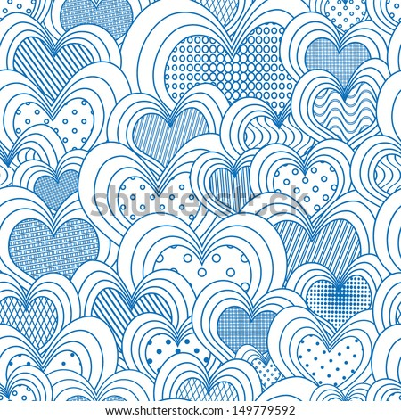 seamless pattern of hearts  - stock vector