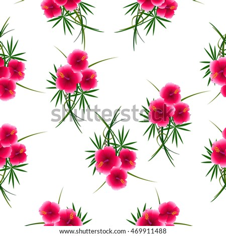 Seamless Pattern Hibiscus Flowers Stock-Vektorgrafik 469911488 ...