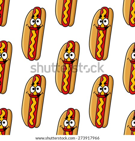 Seamless pattern of hot dog cartoon characters with beef sausage, mustard and funny smile on white background for fast food design - stock vector