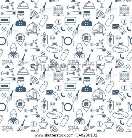 Seamless pattern of hotel service and entertainment. Flat design. Vector illustration - stock vector