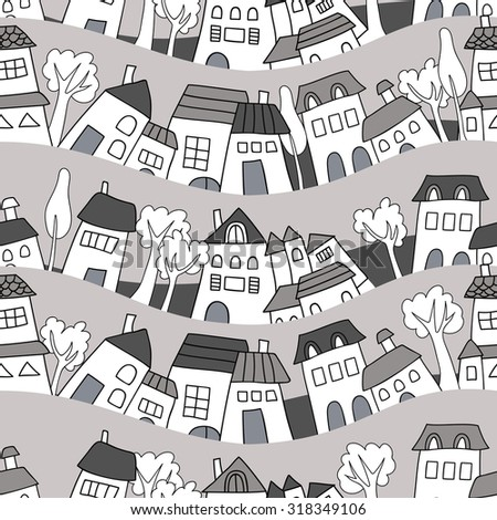 seamless pattern of houses - stock vector
