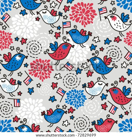 Seamless pattern of Independence Day. Vector doodle illustration. - stock vector