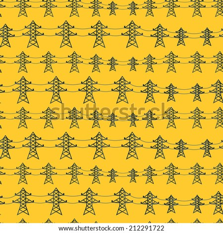 Seamless pattern of industrial power lines in flat style. - stock vector