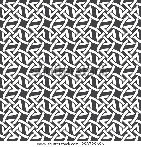 Seamless pattern of intersecting braces with swatch for filling. Celtic chain mail. Fashion geometric background for web or printing design. - stock vector