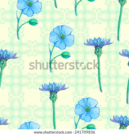 seamless pattern  of isolated flowers of forget-me-not and chicorium - stock vector