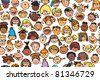 Seamless pattern of kids, different races. - stock vector