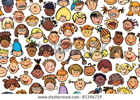Seamless pattern of kids, different races.  stock vector
