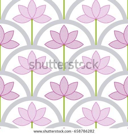 Seamless pattern lace pink lotus flower 658786282 seamless pattern of lace pink lotus flower floral japanese half circle style print mightylinksfo
