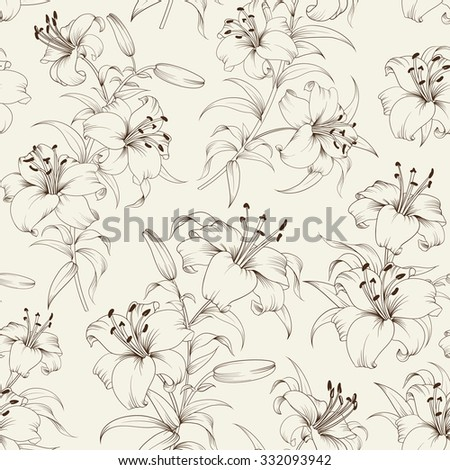 Seamless Pattern of lily flowers. Floral background with blooming lilies isolated on white background. Seamless  pattern with blooming lilies. Vector illustration. - stock vector